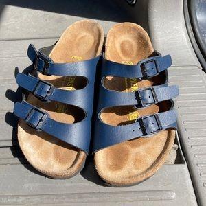 Like new blue Birkenstock sandals. Size 36.